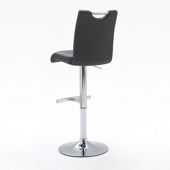 Aachen Bar Stool In Grey Faux Leather With Chrome Base_2