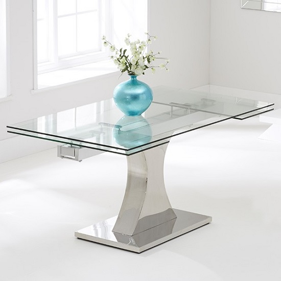 Aachen Glass Extendable Dining Table In Clear And Stainless Stee
