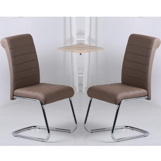 Aaden Dining Chairs In Brown Faux Leather In A Pair