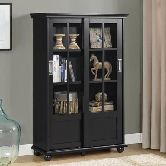 Aaron Lane Bookcase In Black With Sliding Glass Doors