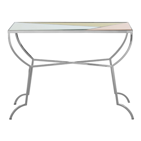 Aarox Multicoloured Glass Console Table With Silver Frame_2