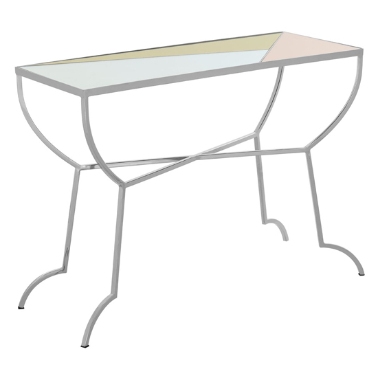 Aarox Multicoloured Glass Console Table With Silver Frame_1