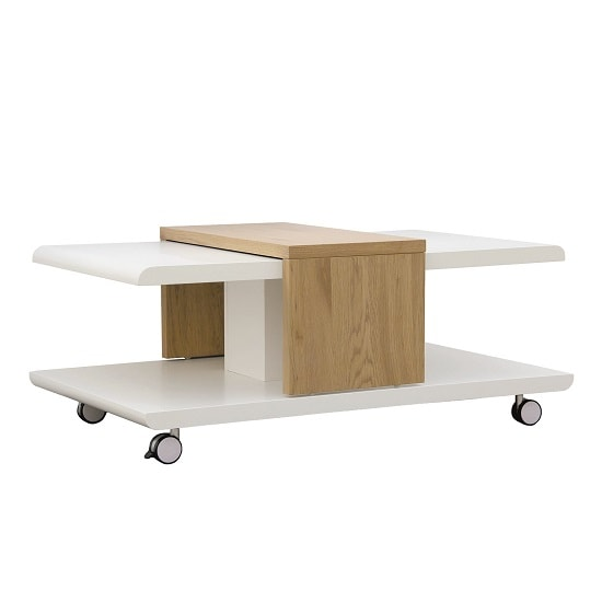 Abberly Wooden Coffee Table In Matt White And Wild Oak