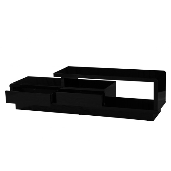 Abberly Wooden TV Stand In Black High Gloss