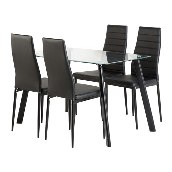 Abbey Clear Glass Dining Table With 4 Black Leather Chairs