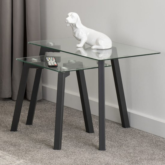 Abbey Clear Glass Nest Of Tables With Grey Metal Legs