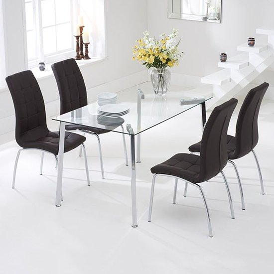 Muncol Glass Dining Table In Clear With 4 Gala Brown Chairs