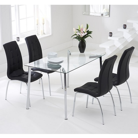 Abbey Glass Dining Table In Clear With 4 Gala Black Chairs