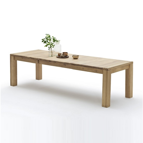 Abbot Wooden Extendable Dining Table Large In Beech Heartwood