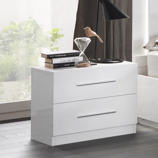 Abby Bedside Cabinet In White High Gloss And 2 Drawers