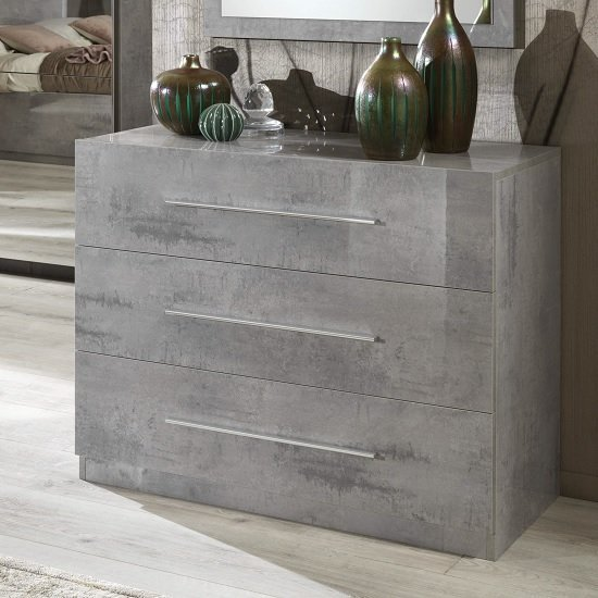 Abby Chest Of Drawers In Grey Marble Effect Gloss And 3 Drawers_1