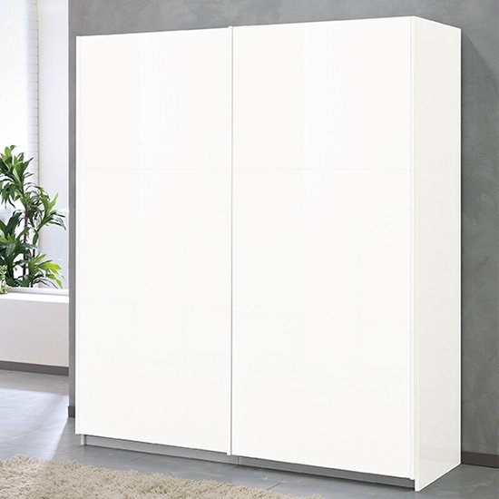 View Abby large wooden sliding door wardrobe in white