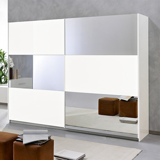 Product photograph showing Abby Medium Mirrored Sliding Wooden Wardrobe In White