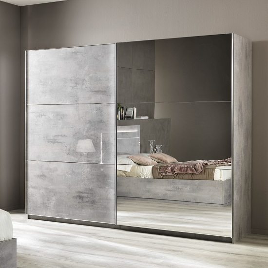 Abby Mirrored Sliding Wardrobe Large In Grey Marble Effect Gloss