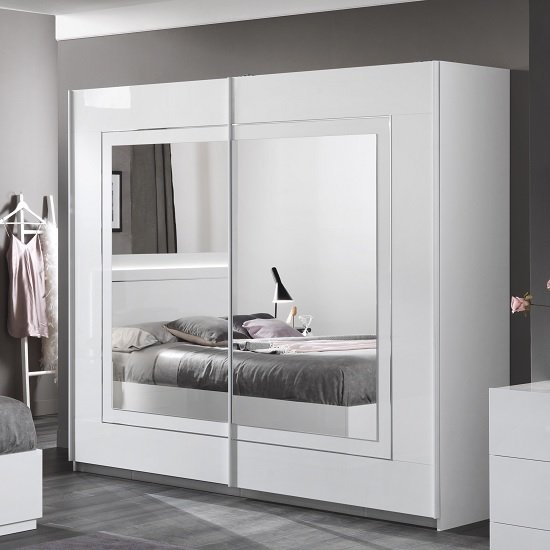 Abby Mirrored Sliding Wardrobe Large In White High Gloss