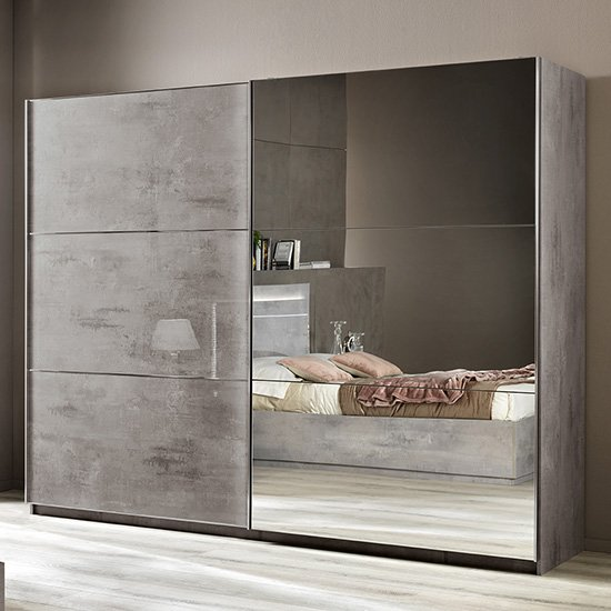 Abby Grey Marble Effect Gloss Large Sliding Mirrored Wardrobe