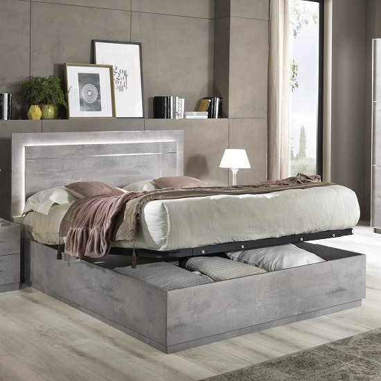 Abby King Size Ottoman Bed In Grey Marble Effect Gloss And Light_1