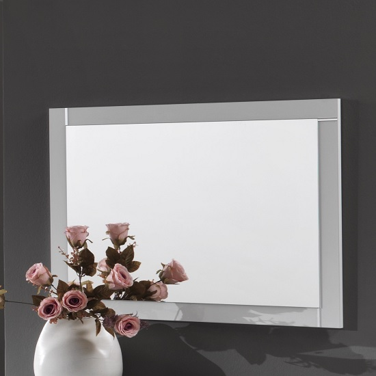 Abby Wall Mirror Rectangular In White High Gloss
