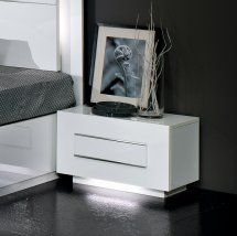 Abby Bedside Cabinet In White Gloss Chrome Detailing And Lights
