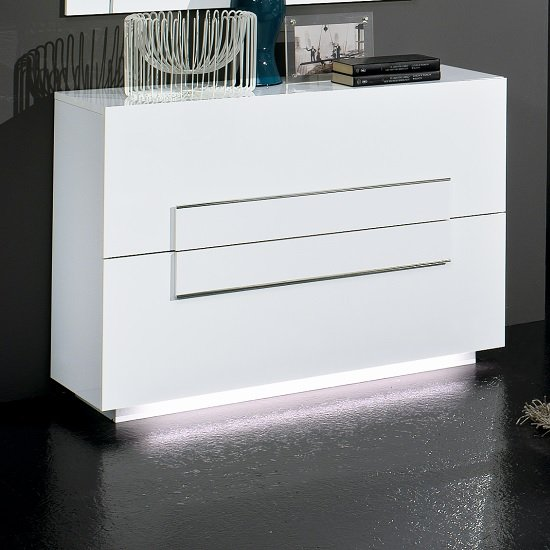 Abby Chest Of Drawers In White Gloss Chrome Detailing And Lights