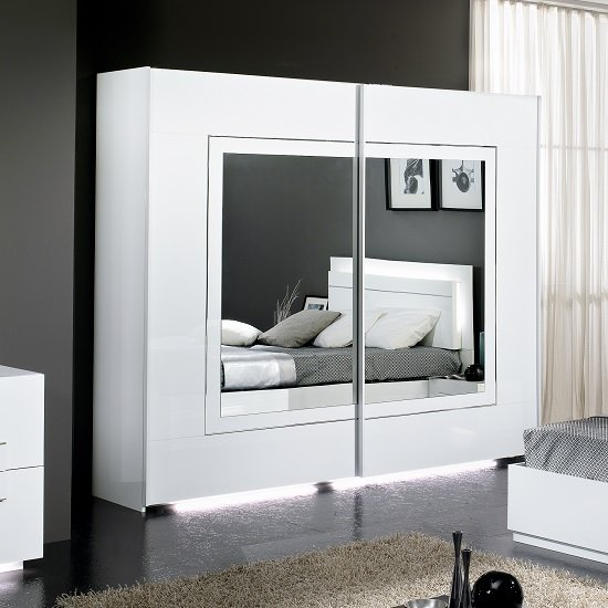 Abby Mirrored Sliding Wardrobe In White High Gloss And Lights