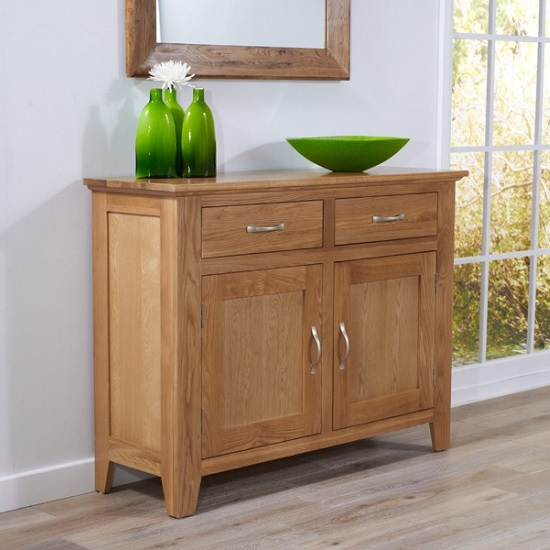 Abelia Wooden Compact Sideboard In Oak With 2 Doors