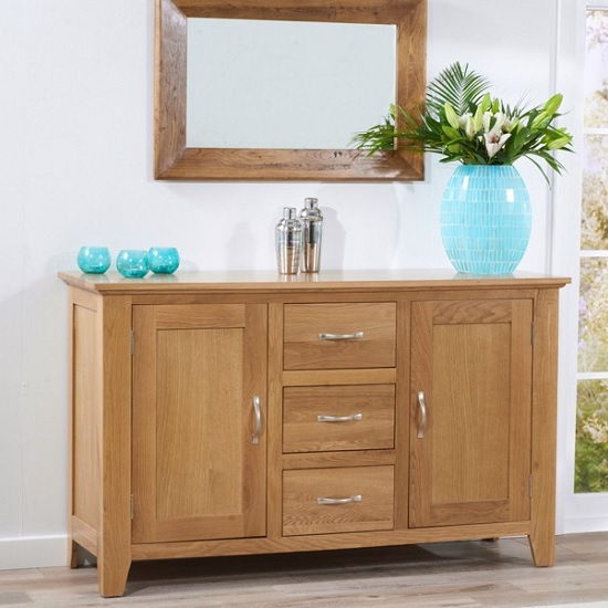Abelia Wooden Sideboard In Oak With 2 Doors And 3 Drawers