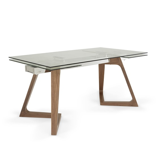 Abena Extendable Glass Dining Table In Clear With Walnut Legs