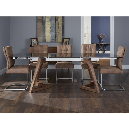 Abena Extendable Glass Dining Table With 6 Farren Chairs_2