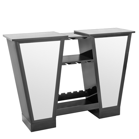 Abena Mirrored Bar Unit In Black High Gloss With Glass Tops