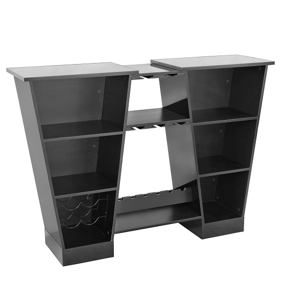 Abena Mirrored Bar Unit In Black High Gloss With Glass Tops_2