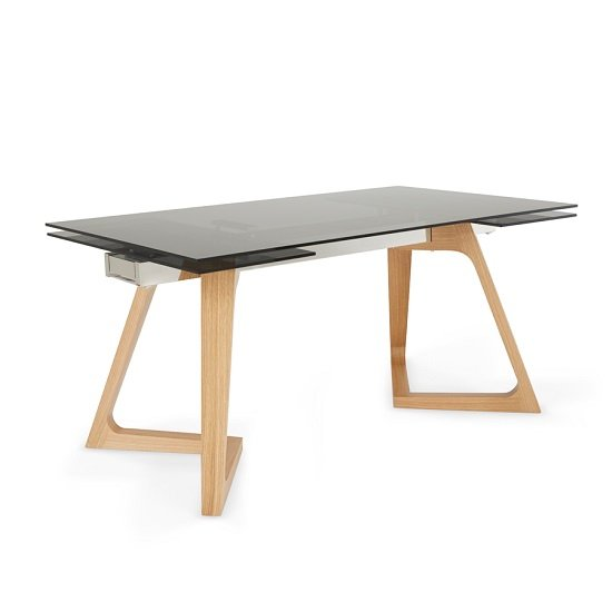 Abena Extendable Glass Dining Table In Smoked With Oak Legs
