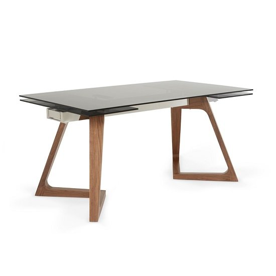 Abena Extendable Glass Dining Table In Smoked With Walnut Legs_1