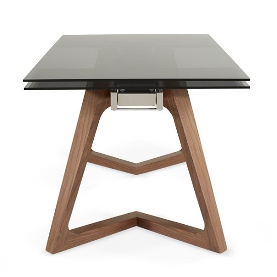 Abena Extendable Glass Dining Table In Smoked With Walnut