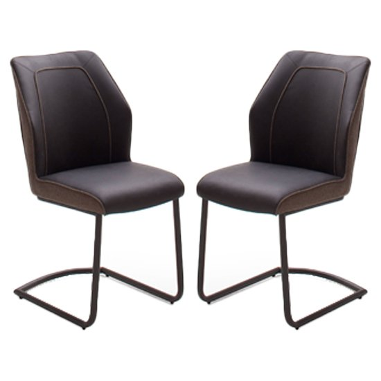 Aberdeen Brown PU Leather Dining Chair In Pair