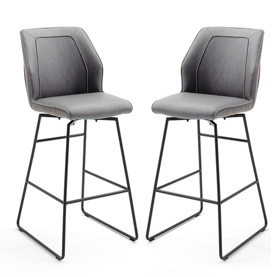Aberdeen Grey PU Leather Bar Stool In Pair