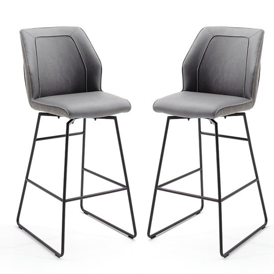 Aberdeen Grey PU Leather Swivel Bar Stool In Pair