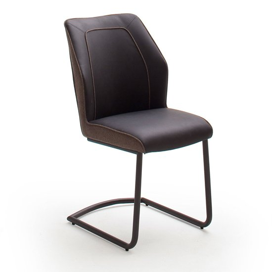 Aberdeen PU Leather Dining Chair In Brown