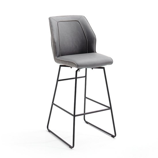 Aberdeen PU Leather Swivel Bar Stool In Grey_1