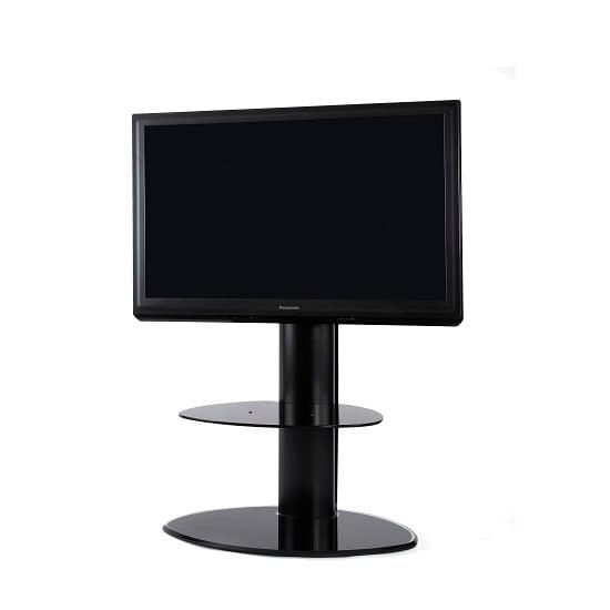 Abilene Modern Swivelling Glass TV Stand In Satin Black