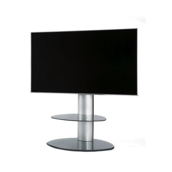 Abilene Modern Swivelling Glass TV Stand In Chrome Silver