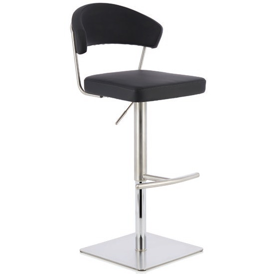 Abilio Bar Stool In Black Faux Leather And Stainless Steel Base