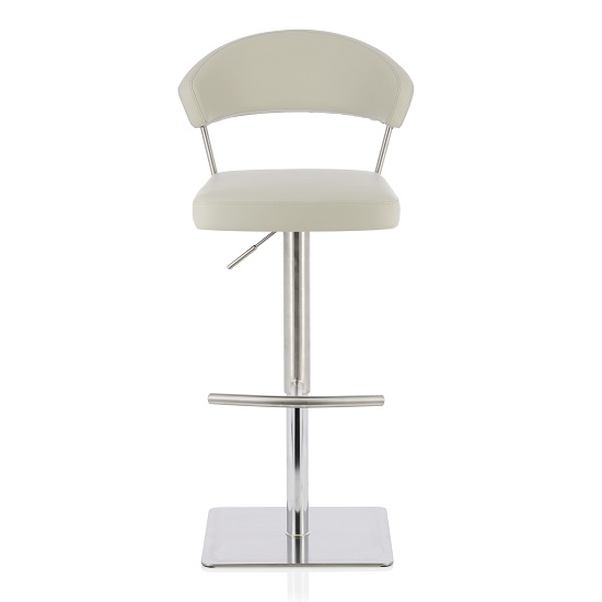 Abilio Bar Stool In Grey Faux Leather And Stainless Steel Base