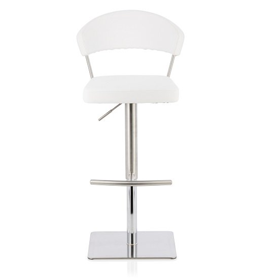 Abilio Bar Stool In White Faux Leather And Stainless Steel Base