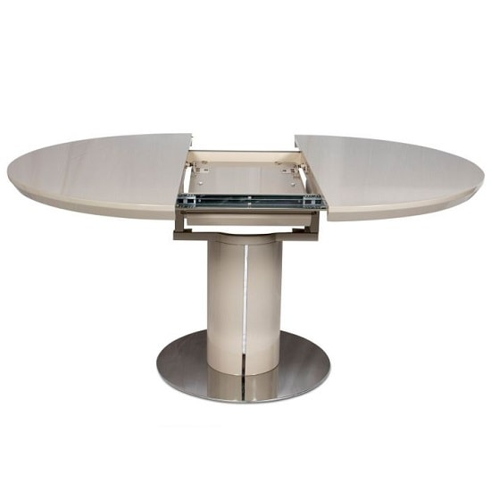 Abramo Extendable Dining Table In Cream High Gloss_2