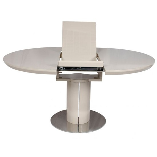 Abramo Extendable Dining Table In Cream High Gloss_3