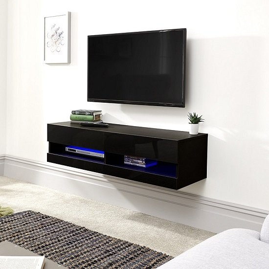 Abril Wall Mounted Small TV Wall Unit In Black Gloss With LED_1
