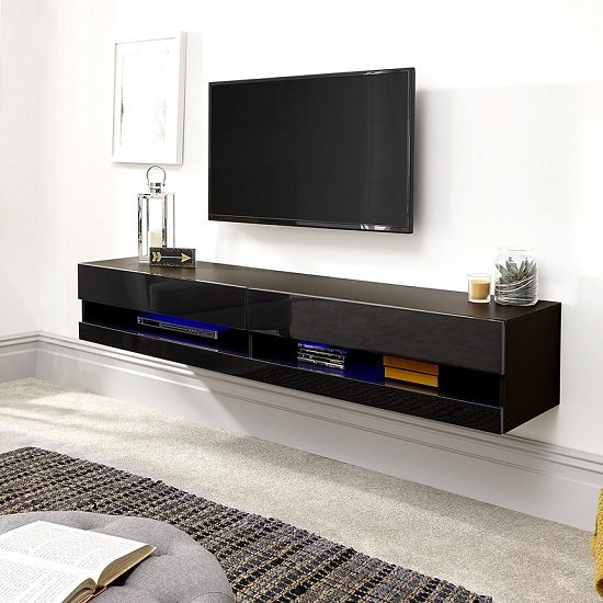 Abril Wall Mounted Large TV Wall Unit In Black Gloss With LED