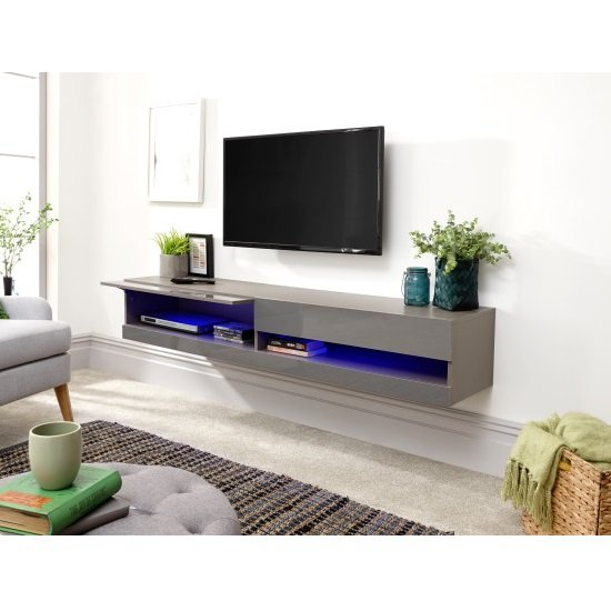 Abril Wall Mounted Large TV Wall Unit In Grey Gloss With LED_2