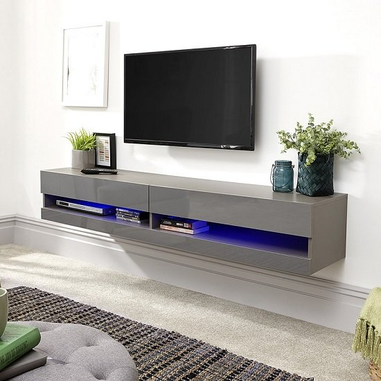 Abril Wall Mounted Medium TV Wall Unit In Grey Gloss With LED